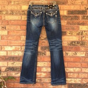Miss Me Easy Boot Cut Sequin Jeans 27 Medium Wash